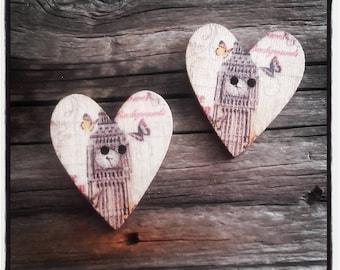 set of 2 buttons wood heart 27 x 25 mm London