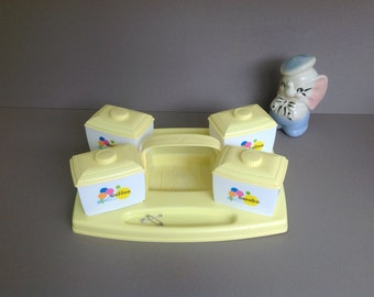 Vintage Baby Nursery Changing Table Organizer Cabby, Vintage Table Caddy, Diaper Changing Accessory Caddy, Yellow and White Nursery Decor