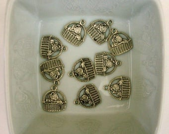 Set of 10 charms silver plate basket cat 16x15mm