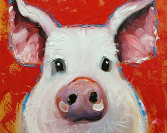 Pig painting 270 12x12 inch original oil painting by Roz