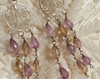 Sterling Silver Natural Yellow Quartz/Citrine & Purple Quartz/Amethyst HandCrafted Earrings