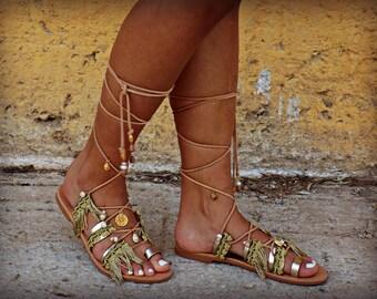 "Handmade Leather Sandals,  Women Sandals, Wedding Sandals, Boho Sandals, Hippie Sandals, Strappy Sandals, Gladiator Sandals ""Antiopi"""