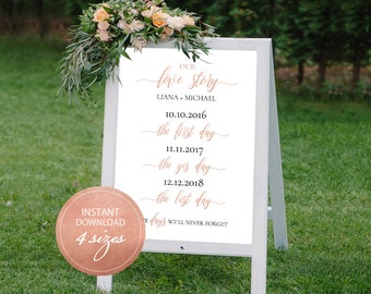 Editable PDF Love Story Sign Wedding Love Story Timeline Template DIY Wedding Love Sign Wedding Love Story Printable Rose Gold #DP140_46