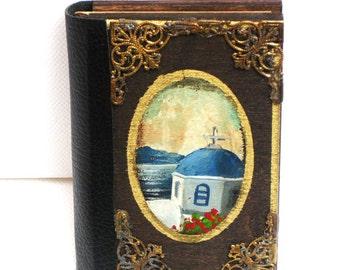 Pocket journal, greek island, greek art, hand painted sea, holiday planner, santorini, white church,  wooden notebook, note book, sketch pad