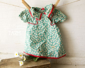Vintage Doll Dress - 1940s Cotton Floral Print- RedTrim -