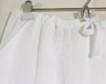 100% White Linen Drawstring Elastic Pants for Men w/ Pockets - Jadon Pants - Handmade Linen Pants - Beach Wedding Pants for Groom