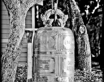Black and White of Buddhist Bronze Bell Buddhism Destination Travel - Fine Art Photograph Print Picture