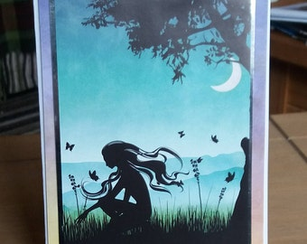 Greeting Card Lady Silhouette