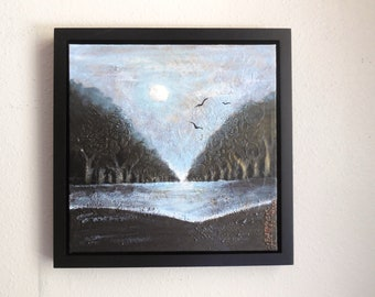 """Abstract Landscape, Acrylic Abstract, Textured Acrylic Painting, 12 x 12 Framed Painting, Ready to Hang Art, """"Full Moon"""" Original Painting"""
