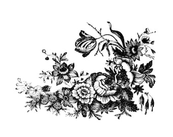 """Vintage Botanical Fowers Temporary Tattoos - """"April Showers Bring May Flowers"""""""