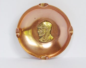 Small french copper Ashtray - Old man from Luchon - vintage
