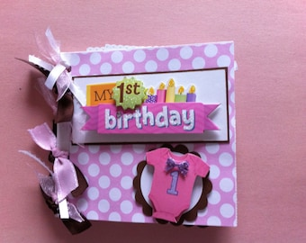 Baby's first birthday scrapbook album baby girl first birthday album first birthday gift