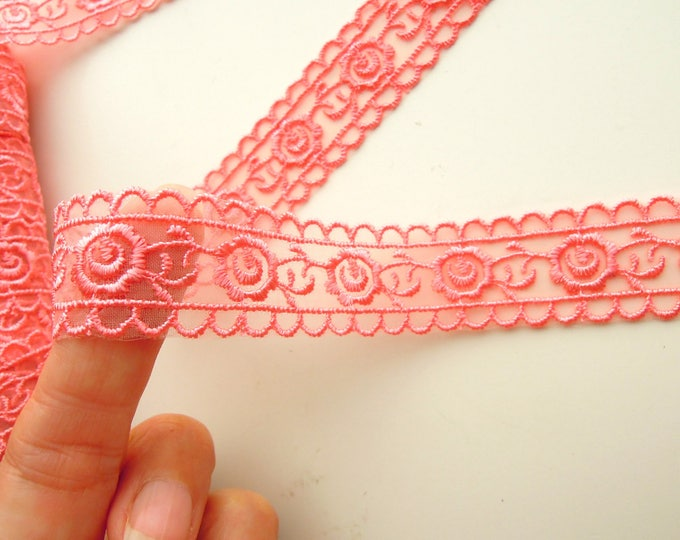 Coral embroidered lace ribbon, Salmon colour mesh trim by the yard, Salmon pink mesh lace 26mm, Embroidered coral ribbon