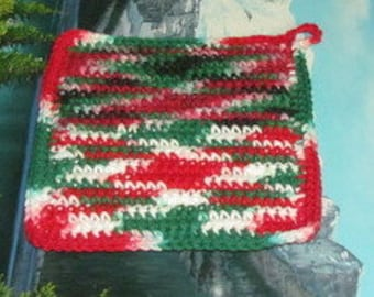 UHP 035 Hand crochet dbl thick cotton upcycle hot pad 7.5 by 7.5 uhp