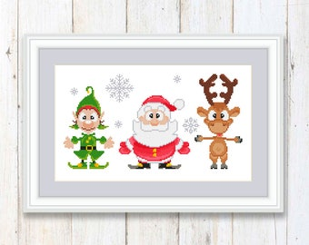 Merry Christmas Cross Stitch Pattern Santa Claus Christmas Moose Elf #ch004