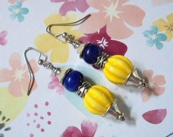 Yellow and Navy Blue Ethnic Boho Earrings (3653)