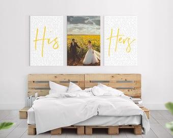 Custom WEDDING VOWS + PICTURE Canvas Art - Wedding Anniversary Present - Custom Wedding Vows - Many Sizes - Bedroom Wall Decor