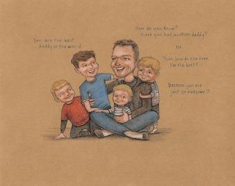 Custom Family Portrait - 4 or 5 Full Length Figures - drawing - illustration - caricature