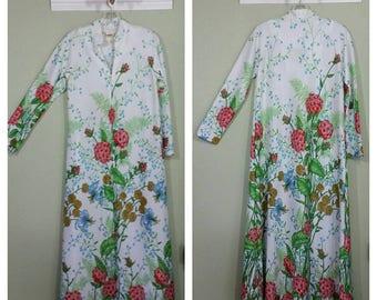 Vintage Lounge Robe, Polyester, Floral, S/M