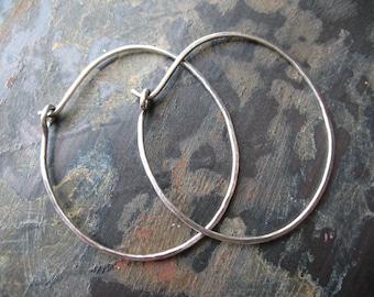 18 gauge Hammered Antiqued Sterling Silver Teardrop Hoops - 1 pair - 1.5 inches long