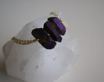Iridescent Purple Crystal Bracelet