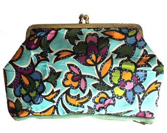 Rainbow Colored Floral Vinyl Clasp Clutch Coin Purse