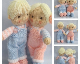 Jack and Jill doll knitting pattern - Pdf INSTANT DOWNLOAD - knitted dolls