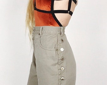 Vintage High Waisted Beige Denim Western Ankle Crop Mom Jeans // Women's size 26 Petite 5 6 Small S