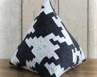Fabric Doorstop, Doorstopper in Black & Silver White Stepped Striped Fabric, Triangular, Pyramid Shape