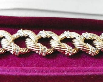 Jackie Kennedy Gold Plated Bracelet - 24K with Crystal Accents, Box and Certificate - Sz 7 or 8 - TMS1