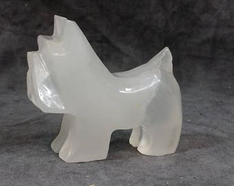 Carved Scotty Dog, Onyx Stoneware, Quartz Sculpture Statue