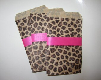 Set of  20 LEOPARD PRINT Party BAGS