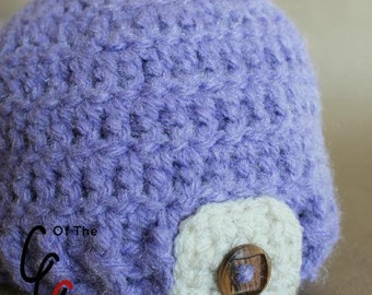 Preemie Newborn Button Tab Hat | Baby Button Tab Hat Crochet Pattern | Newborn Baby Crochet Hat Pattern | PDF Pattern