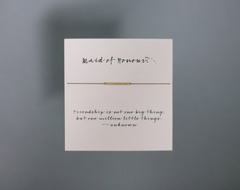 Friendship Bracelet - Maid Of Honour - Gold Friendship Bracelet on Silk - Walnut