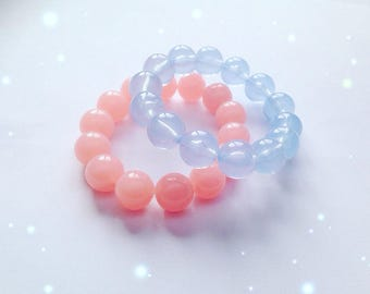 Pair of Rounded Pastel Bead Bracelets, Fairy Kei, Sweet Lolita, Decora Kei, Jfashion etc inspired