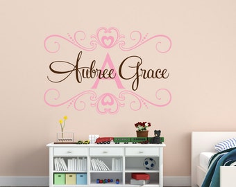 Baby Girl Name Wall Decal - Shabby Chic - Childrens Wall Decal - Heart Wall Decal - Monogram Wall Decal - Vinyl Wall Decal - Vinyl Lettering