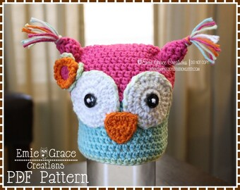 Owl Hat Crochet Pattern, 8 Sizes from Newborn to Adult, OLIVIA and OLIVANDER OWL - pdf 131
