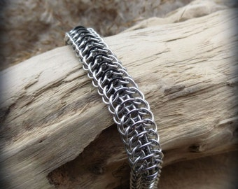 Dragon men chainmaille aluminium bracelet, hand crafted chain maille bracer, man chain maille jewelry, aluminium gift, men bracelet gift