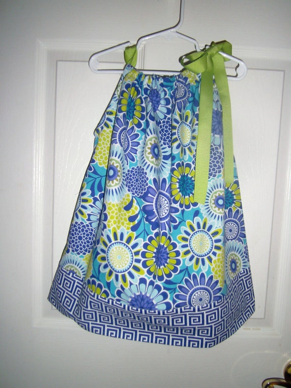 Girls Summer Dress,Handmade,Back to School, Cotton Dress, Pillowcase Dress, Blue & Green Dress,Babies, Toddler, Preteens, Beach Cover-up