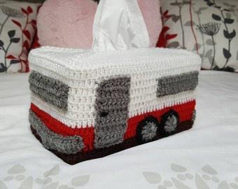 Caravan Crochet Tissue Box Cover. Looks great in your Van Caravan Motorhome