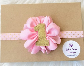 Light Pink and Gold First Birthday Headband, Baby Headband, Newborn Headband, Baby Girl Headband, Infant Headband, 1st Birthday Headband