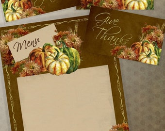 Thanksgiving Decor Printable  Name Place Card Menu Tents Table DIY Kit Instant Download Edit From Your iPhone iPad Gather Give Thanks