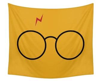 Harry Potter Tapestry, Children Wall Decor, Nerd Room, Fan Wall Art, Geek Illustration, Kids Tapestries, Minimal Design, Glasses, Mustard