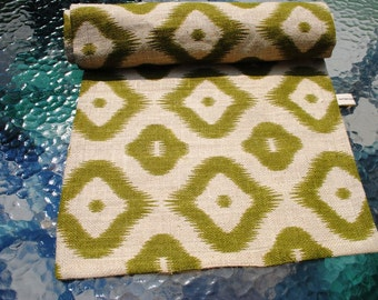 Burlap Table Runner Natural Green  Geometric  Design Table Topper Lined