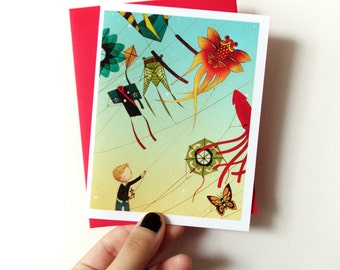 Kite Boy - cute blank greeting card with envelope