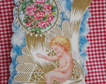Vintage Valentine Card Gilded & Embossed Cupid Roses Ribbons Early 1900s