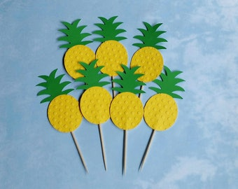 Set of 12  Embossed Pineapple Cupcake Topper-Food Pick-Summer Party-First Birthday-Beach Party
