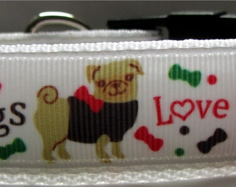 Pug dog collar pugs love hugs