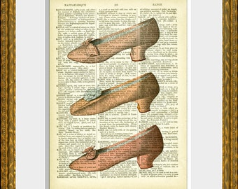 THREE PINK SHOES recycled book page art print - an antique dictionary page with a French Fashion  illustration - home decor - vintage charm