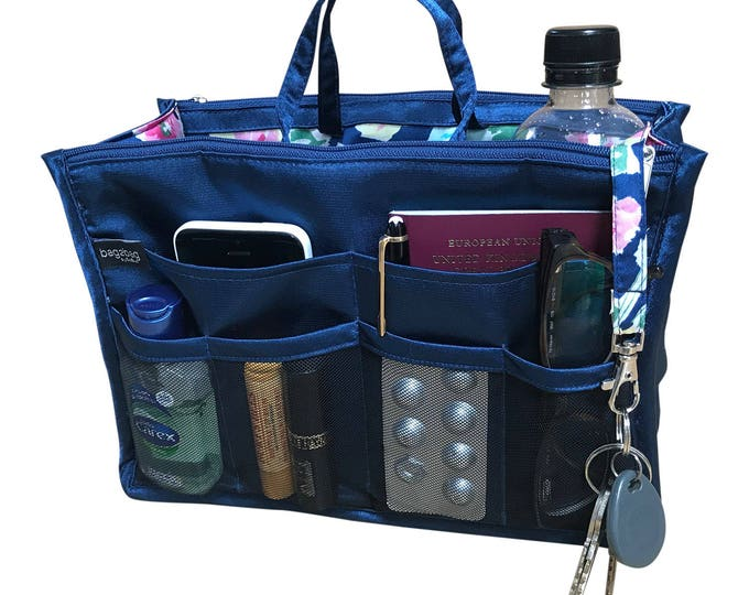 Luxury Purse Insert, Purse Organizer, Bag Organizer, Handbag Organizer, handbag organiser - Navy Blue satin, floral lining